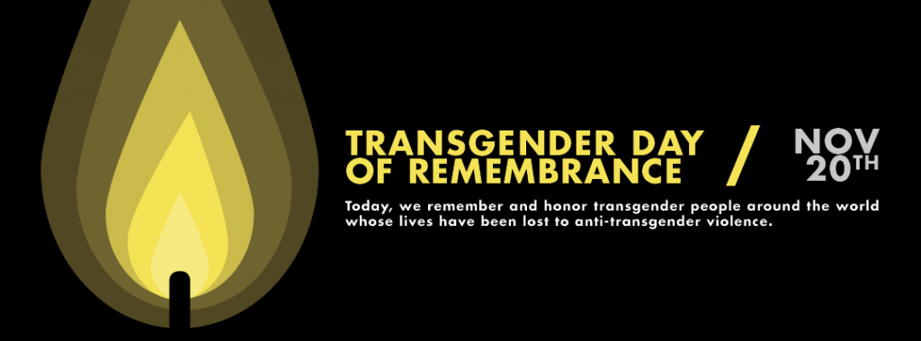 "TDoR Banner: This is an image of a candle with matching yellow text reading ""Transgender day of remembrance, Nov 20th, today we remember and honour transgender people around the world whose lives have been lost to anti-transgender violence"", the blackground is black."""